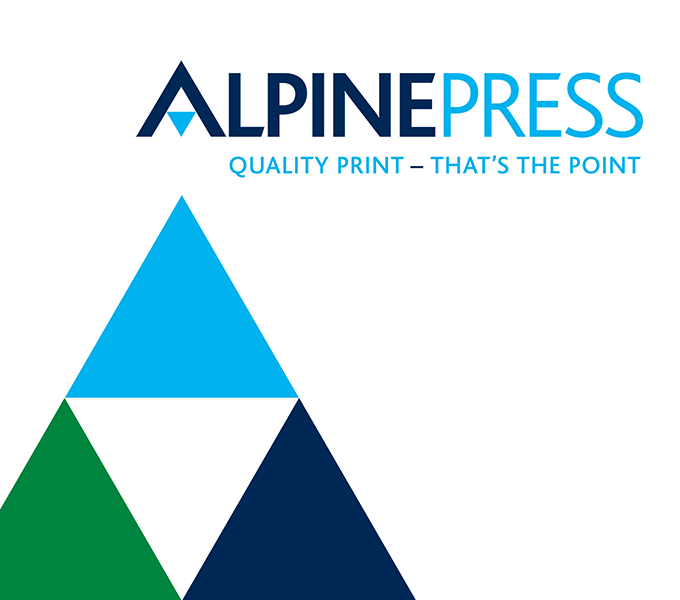 Alpine Press brand identity refresh and strapline