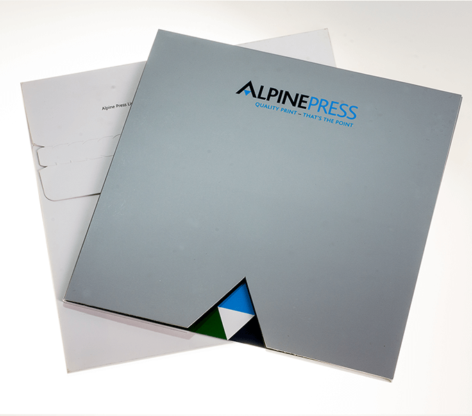 Alpine Press metallic sales pack and mailing outer