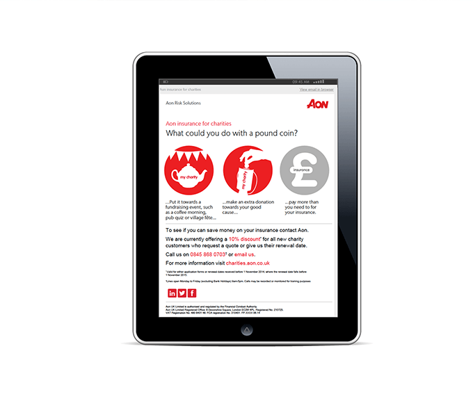 Aon Charity email campaign