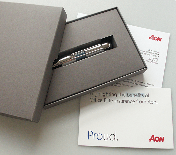 Aon Office Elite boxed highlighter pen mailer