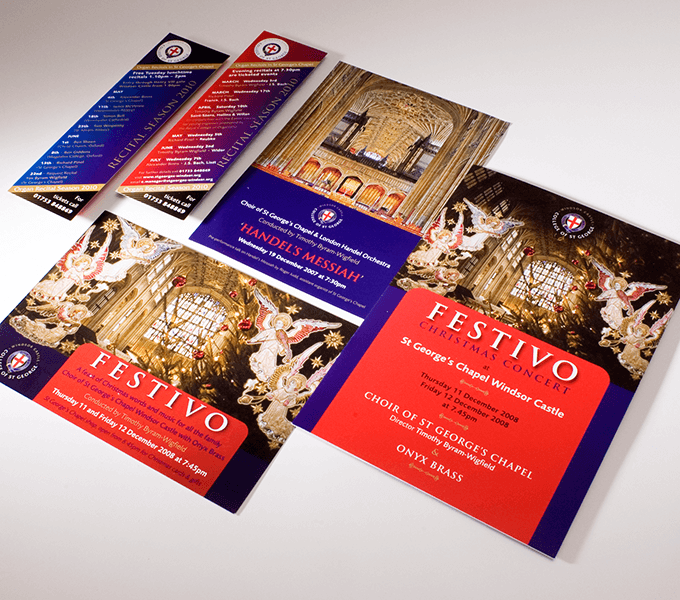 Programmes and marketing for recitals at St Georges Chapel,Windsor