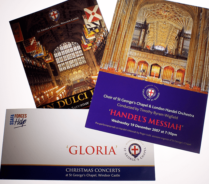 Programmes and marketing for concerts at St Georges Chapel,Windsor