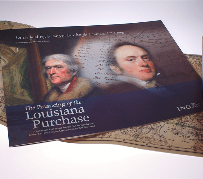 Cover and wrap for 16 page Lousiana Purchase booklet