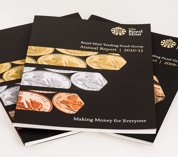 Covers of Royal Mint Annual Reports