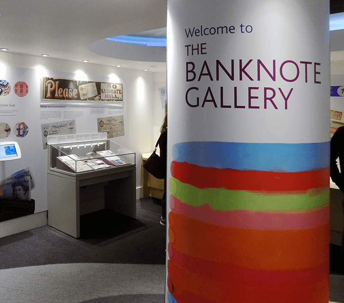 Entrance to Banknote gallery showing cladded structural column
