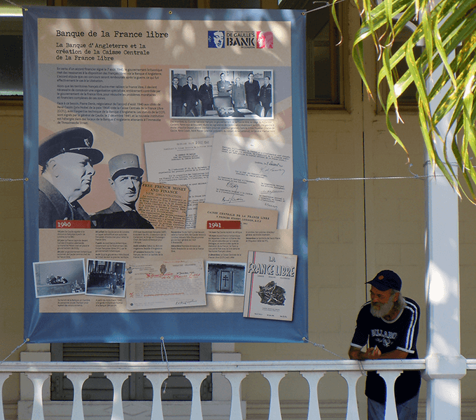 De Gaulle's Bank travelling display in New Caledonia, French overseas territory in the southwest Pacific