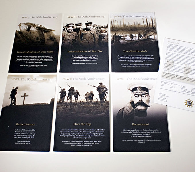 Royal Mint packaging: 90th Anniversary of end of WWI cards
