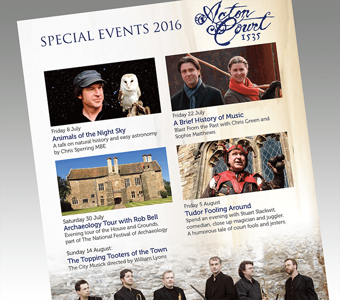 Acton Court Special Events flyer
